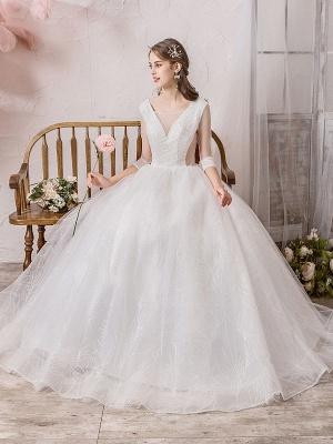 Brautkleid Prinzessin Silhouette Bodenlangen V-Ausschnitt Ärmellos Natürliche Taille Perlen Lycra Spandex Brautkleider_5
