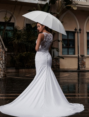 Customize Wedding Dress With Train Sleeveless Beaded Square Neck Bridal Gowns_4