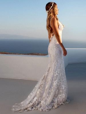 Vestido de novia de sirena sexy Vestidos de novia de encaje sin espalda con cuello en V blanco_2