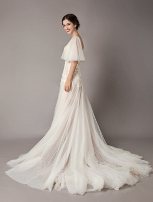 Boho Wedding Dresses Tulle Lace V Neck Butterfly Sleeve Backless Summer Beach Bridal Gowns_9