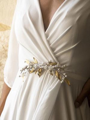 Weiße Brautkleider mit Zug A-Linie bodenlangen 3/4 Ärmeln Plissee V-Ausschnitt Brautkleider_6
