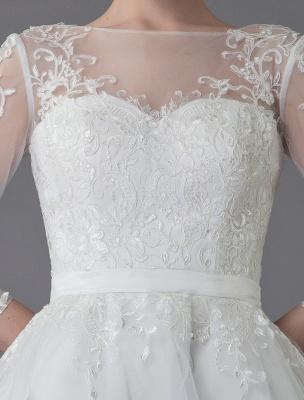 Vintage Wedding Dresses Tulle Bateau 3/4 Length Sleeve A Line Bridal Gown Short Bridal Dress Exclusive_10