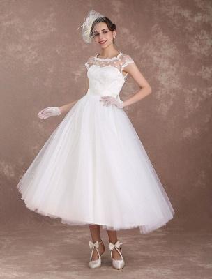 Kurze Brautkleider Vintage 50er Jahre Brautkleid Open Back Polka Dot Elfenbein A Line Tee Länge Hochzeitskleid Exklusiv_2
