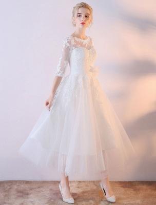 Kurze Brautkleider Weiß Halbarm Spitze Applique Tee Länge Brautkleid_2