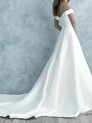 Simple Wedding Dress Off The Shoulder Matte Satin Short Sleeves Buttons A Line Bridal Gowns_2