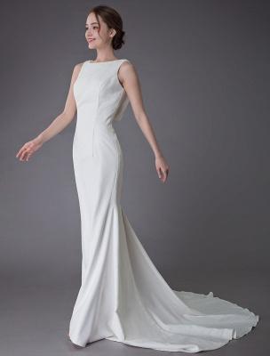 Brautkleider Elfenbein Mantel Einfaches Brautkleid mit Wasserfallausschnitt Strandhochzeitskleider mit Zug Exklusiv_6