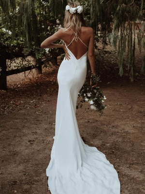 White Simple Wedding Dress Mermaid V-Neck Sleeveless Criss-Cross Spaghetti Straps Lace-Up Backless Satin Fabric Long Bridal Dresses_4