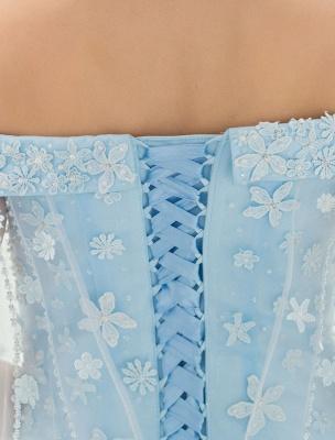 Blaues Brautkleid Spitze Blumenapplikation Off-the-Schulter Tüll Cape Chaple Schleppe A-Linie Brautkleid_9