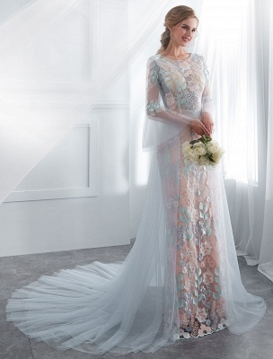 Colored Wedding Dresses Baby Blue Lace Long Sleeve Bridal Dress With Train_5