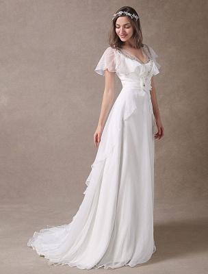 Glamorous Court Schleppe Elfenbein Brautkleid mit Perlenstickerei V-Ausschnitt Exklusiv_5