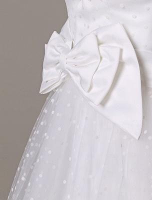 Vestido de novia de tul Sin tirantes Una línea Hasta el té Vestido de novia con lazo Exclusivo_9