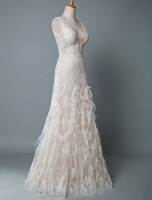 Simple Wedding Dress Lace A Line V Neck Sleeveless Beaded Floor Length Feather Bridal Gowns_2
