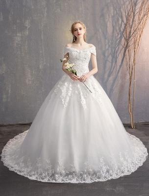 Ballkleid Prinzessin Brautkleider Elfenbein Spitze Perlenketten Schulterfrei Brautkleid_2
