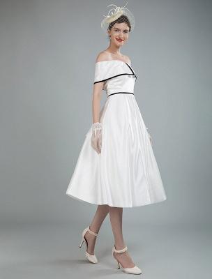Vintage Brautkleider Satin Schulterfrei A Line Tee Länge Kurze Brautkleider Exklusiv_9