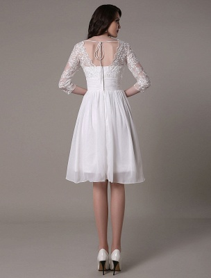 Simple Wedding Dressses Chiffon V Neck Lace A Linepleated Bridal Dress Exclusive_6