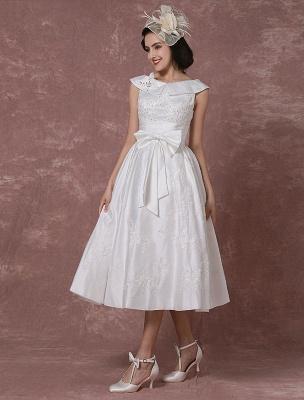 Vintage Wedding Dress Satin Short Bridal Gown Lace Beading Tea Length Reception Bridal Dress Detachable Bow Sash Exclusive_7