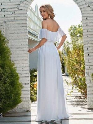 Weißes einfaches Brautkleid Chiffon Bateau-Ausschnitt Ärmellos Split Front A-Linie Lange Brautkleider_3