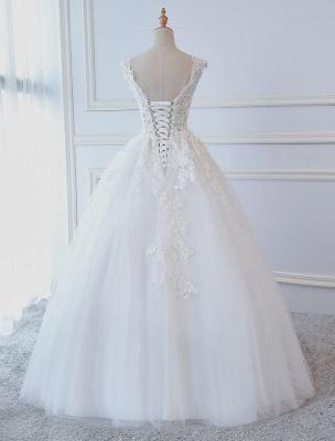 Robes de mariée princesse robes de bal dentelle col en V sans manches longueur de plancher robes de mariée_3