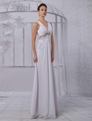 Empire Chiffon V-Ausschnitt Brautkleid mit Illusion Rücken und Blumenapplikation Exklusiv_4