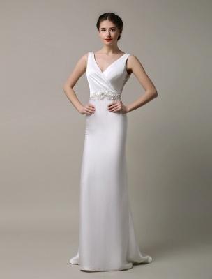 Elfenbeinfarbener Satin mit tiefem V-Ausschnitt und Wasserfallausschnitt mit verzierter Schärpe Hochzeitskleid_2