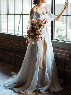 Wedding Dress A Line Off The Shoulder Sleeveless Pleated Court Train Chiffon Boho Bridal Gowns_2