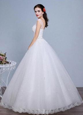 Ivory Wedding Dress Lace Sleeveless V Neck Rhinestones Beaded A-Line Floor Length Bridal Gown_3