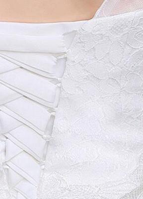 Ivory Wedding Dress Lace Sleeveless V Neck Rhinestones Beaded A-Line Floor Length Bridal Gown_7