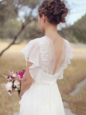 Einfaches Hochzeitskleid A-Linien-Ausschnitt Ärmellose Applikationen Chiffon Brautkleider_3