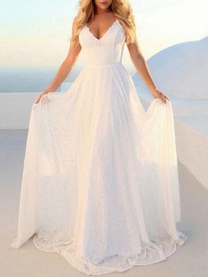 Robes de mariée simples 2021 A Line V Neck Straps Backless Floor Length Classic Robes de mariée_3