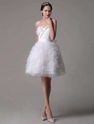 Robe de mariée courte en satin sans bretelles avec jupe fatiguée en tulle_1