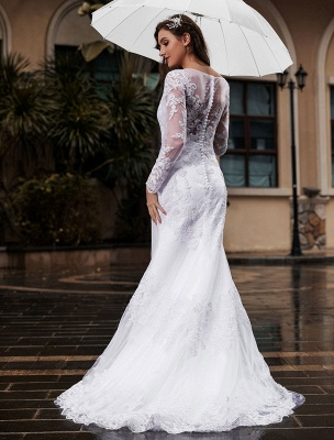 Lace Wedding Dress Ivory White Jewel Neck Long Sleeves With Train Tulle Bridal Gowns Maxi Wedding Dress_2