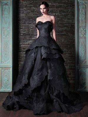 Gothic Brautkleider Satin Stoff Prinzessin Silhouette Ärmellos Natürliche Taille Perlen Hofzug Brautkleid_1