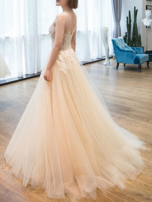 Wedding Dress 2021 Princess Silhouette Floor Length Jewel Neck Sleeveless Natural Waist Lace Tulle Bridal Gowns_4