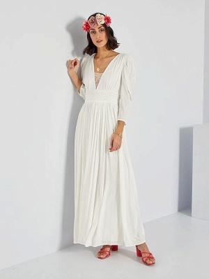 Robe de mariée simple ivoire A-ligne col en V manches longues plissée au sol en mousseline de soie robes de mariée_1