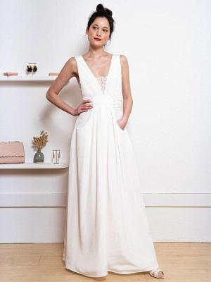 Weißes einfaches Hochzeitskleid Satin Stoff V-Ausschnitt Ärmellose Knöpfe A-Linie Lange Brautkleider_2