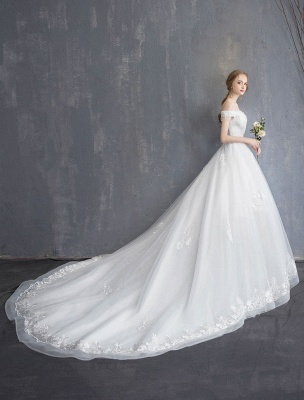 Princess Wedding Dresses Ball Gown Lace Beaded Chains Off The Shoulder Bridal Dress_5