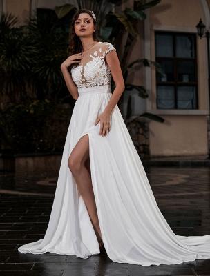 Vestido de novia Playa Corte en A Silueta Joya Cuello Encaje Corpiño Gasa Vestido de novia_2
