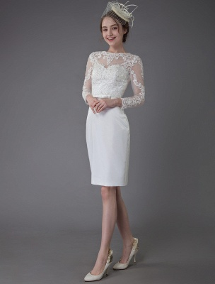 Vintage Brautkleider Jewel Langarm Etui Kurzes Brautkleid Exklusiv_4