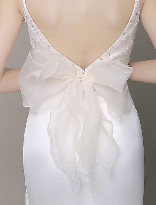Satin Sheath Wedding Dress Plunging Neckline Bow Back Belt Lace Beading Evening Dress Exclusive_9