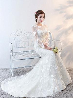 Brautkleider Langarm Meerjungfrau Blumen Applique Bows Elfenbein Brautkleid mit Zug_6