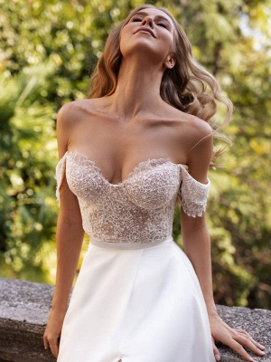 White Simple Wedding Dress Satin Fabric Strapless Sleeveless Cut Out A-Line Off The Shoulder Long Bridal Dresses_7