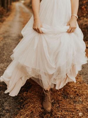 Einfache Hochzeitskleid Backless Brautkleider Chiffon V-Ausschnitt A-Linie Brautkleider_10