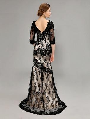 Black Wedding Dress Lace Mermaid V-Neck Dress With 3/4 Sleeves_4