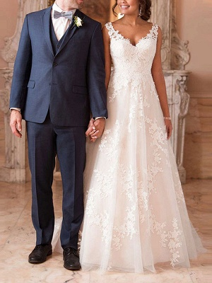 Wedding Dresses A Line V Neck Sleeveless Lace Illusion Back Bridal Gowns_2
