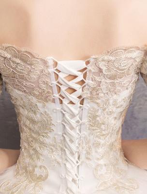 Tulle Wedding Dress Off The Shoulder Half Sleeve Princess Bridal Gown_10