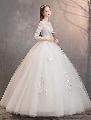 Tüll Brautkleider Elfenbein Illusion Ausschnitt Halbarm Bodenlangen Prinzessin Brautkleid_3