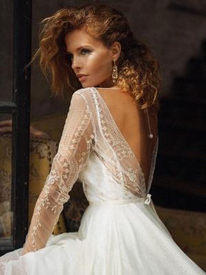 Robe de mariée ivoire col bijou manches longues dos nu robes de mariée en dentelle_4