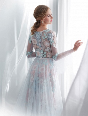 Colored Wedding Dresses Baby Blue Lace Long Sleeve Bridal Dress With Train_8