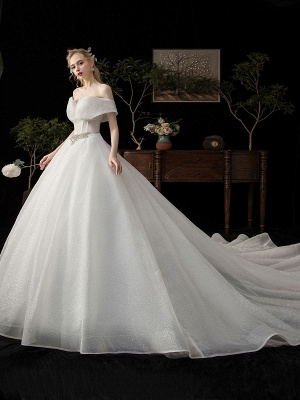 Ball Gown Wedding Dress 2021 Princess Silhouette Cathedral Train Off The-Shoulder Short Sleeves Natural Waist Beaded Sequined Bridal Dresses_4