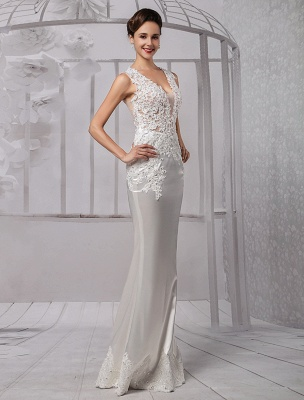 Sexy Lace Deep V-Neck Beaded Sheath/Column Illusion Back Bridal Gown Exclusive_3